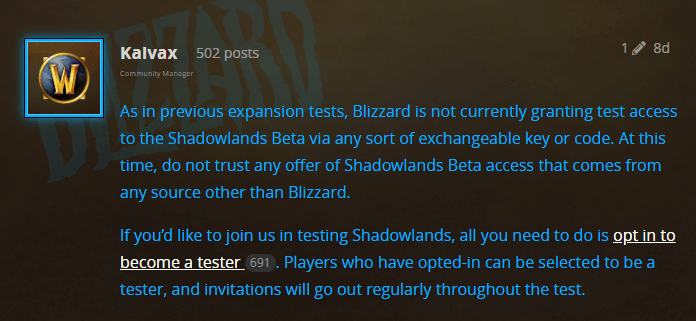 WoW Shadowlands Beta Keys Update